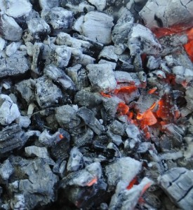 wood fire hot coals for cooking